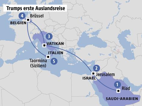 Grafik zu Trumps Auslandsreise