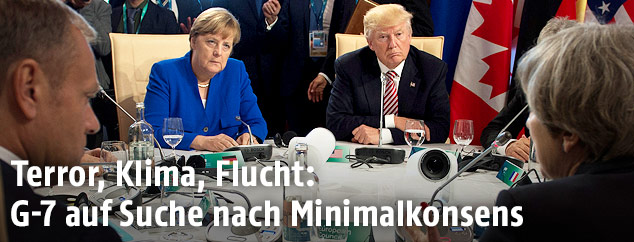 Donald Tusk, Angela Merkel, Donald Trump und Theresa May
