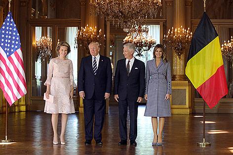 Das belgische Königspaar Mathilde und Philippe, Donald und Melania Trump