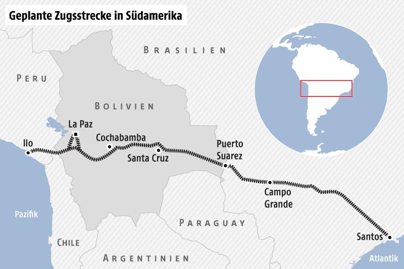 Karte von Südamerika zeigt den geplanten Streckenverlauf