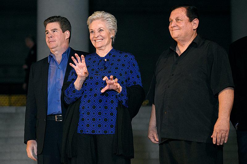 Ralph Garman, Lee Meriwether und Burt Ward beim Batman-Tribute in Los Angeles