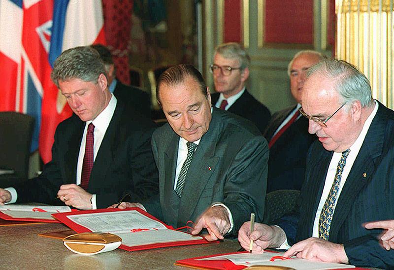 Bill Clinton, Jacques Chirac und Helmut Kohl