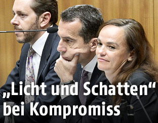 Wirtschaftsminister Mahrer (ÖVP), Bundeskanzler Kern (SPÖ), Bildungsministerin Hammerschmid (SPÖ)