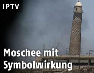 Archivbild des schiefen Minaretts der Al-Nuri-Moschee in Mossul
