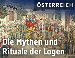 """Szenenbild von Mozarts """"Zauberflöte"""", 1. Akt, 18. Auftritt, """"Es lebe Sarastro"""", Kolorierter Kupferstich von Joseph Schaffer, um 1794"""