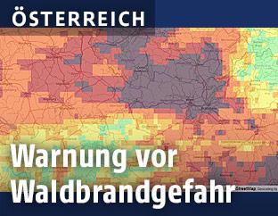 Karte zeigt Regionen mit erhöhter Waldbrandgefahr