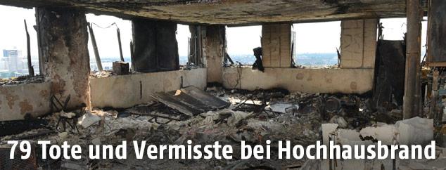 Verbranntes Hochhaus in London