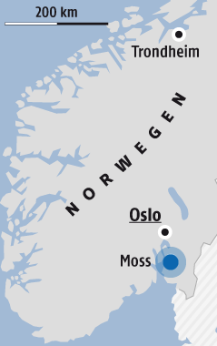 Karte zeigt Moss in Norwegen