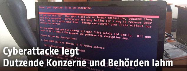 Bildschirm mit der Botschaft des Virus