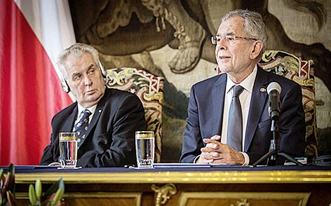 Bundespräsident Alexander Van der Bellen und der tschechische Präsident Milos Zeman