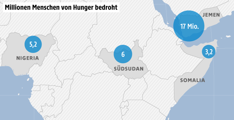 Karte zeigt Hungersnot-Gebiete in Afrika