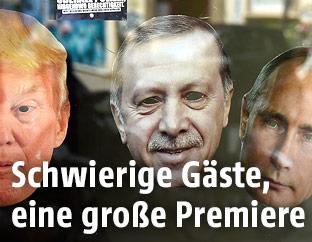 Masken von Donald Trump, Recep Tayyip Erdogan und Wladimir Putin