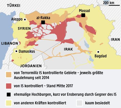 Karte zeigt IS-Gebiete in Syrien und Irak