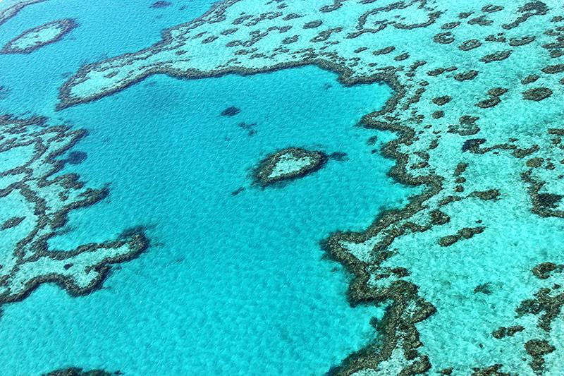 Luftaufnahme eines Teils des Great Barrier Reefs