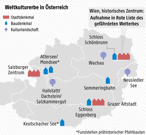 Karte von Österreich mit eingezeichneten Weltkulturerbestätten
