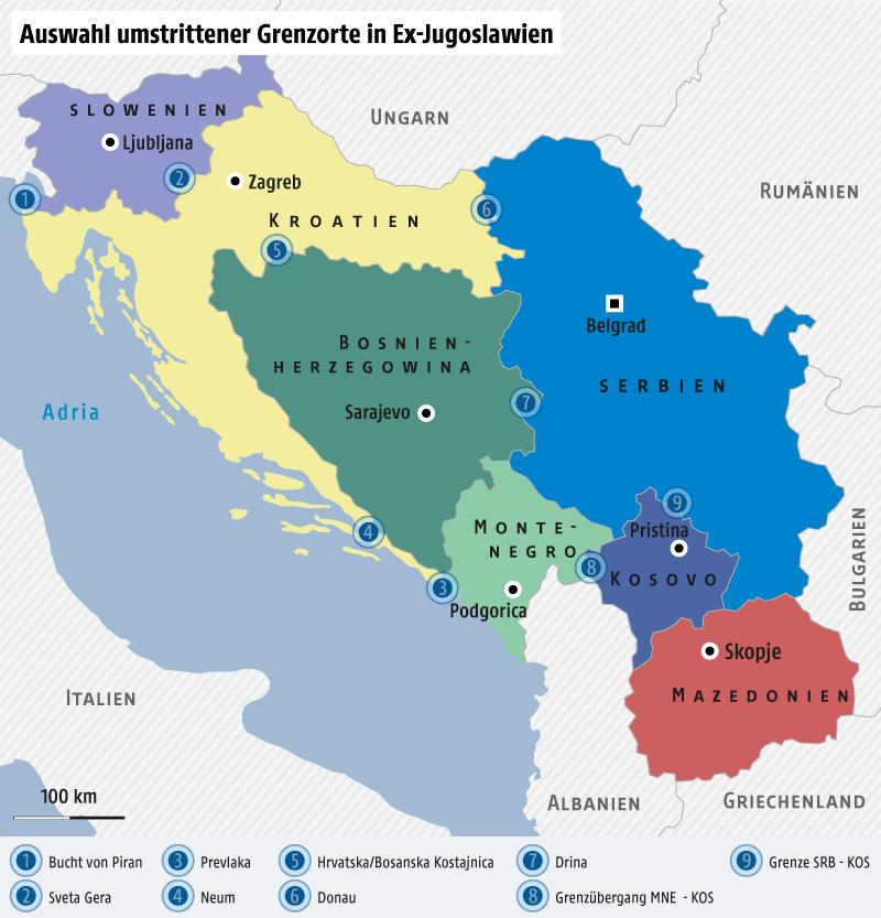 Karte zeigt den ehemaligen Vielvölkerstaat Jugoslawien und die umstrittenen Grenzgebiete