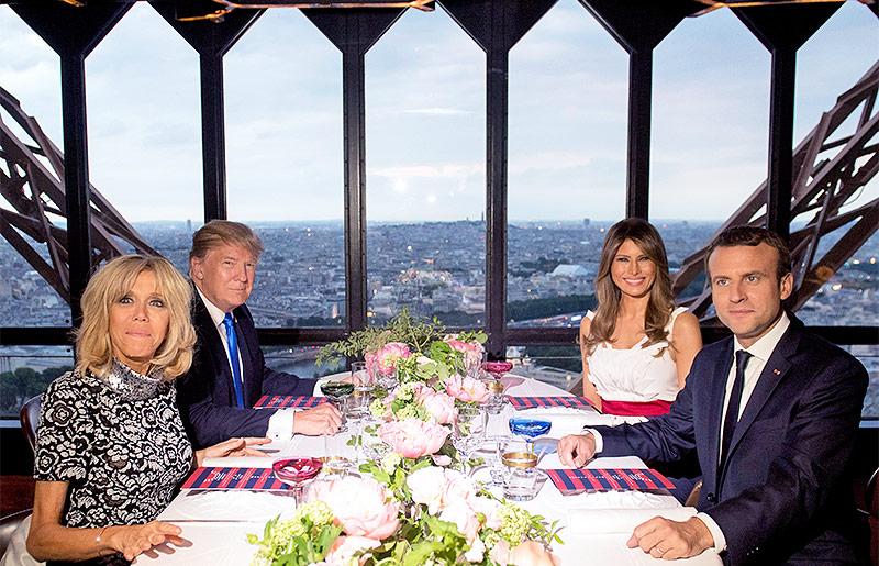Emmanuel und Brigitte Macron mit Donald und Melania Trump