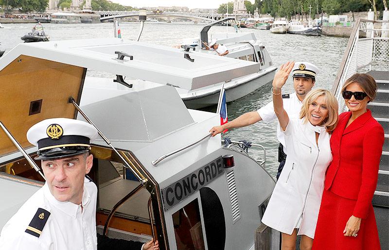 Brigitte Macron und Melania Trump