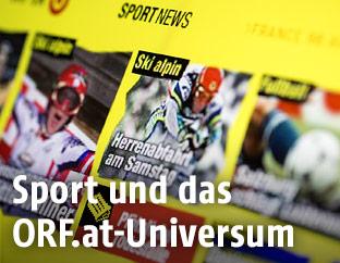 Bildschirm zeigt sport.ORF.at