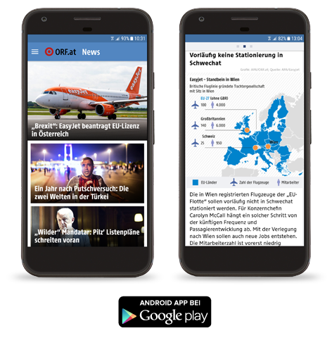 Screenshots der ORF.at-News-App