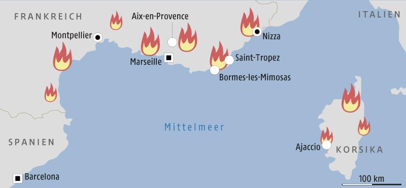 Grafik zeigt eine Karte Südfrankreichs und Korsikas mit den Schwerpunkten der Brände