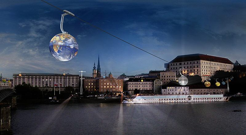 Computerrendering der geplanten Linzer Planetenseilbahn