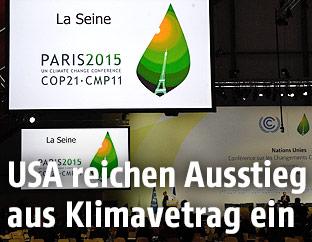 Monitor auf der Pariser Klimakonferenz Ende November 2015