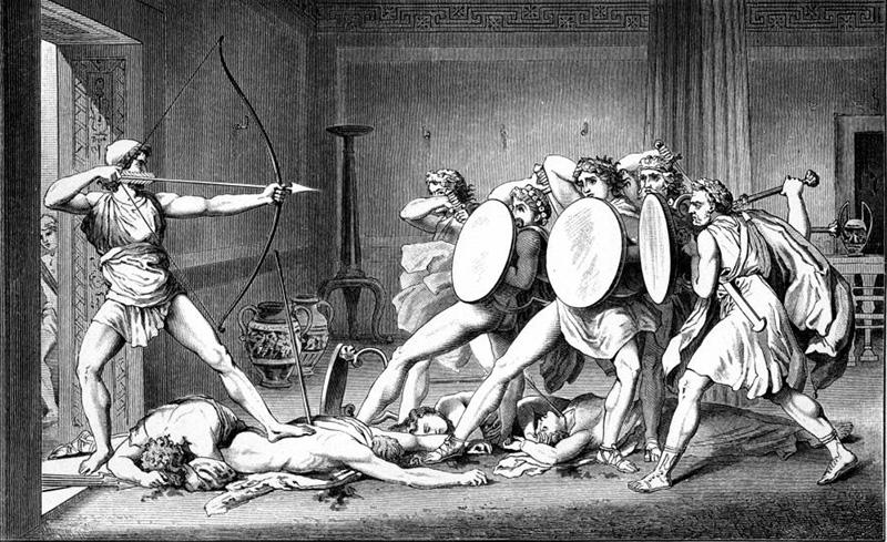 Odysseus erschießt die Freier (aus der Sagensammlung von Gustav Schwab)