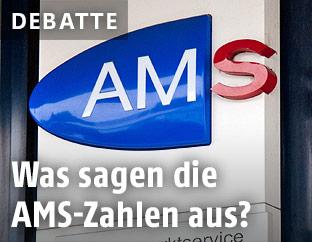 Schild mit AMS-Logo