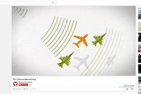Ein Youtube-Video zeigt eine Animation zur Luftraumüberwachung des Österreichischen Bundesheeres