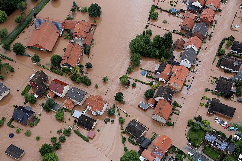 Hochwasser am 26. Juli 2017 in Rühden (Niedersachsen)