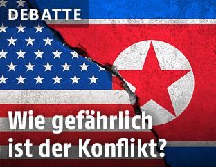 Montage zweier Flaggen der USA und Nordkorea