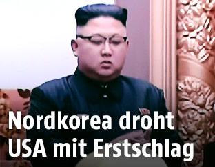 Nordkoreanischer Machthaber Kim Jong-Un im Fernsehen