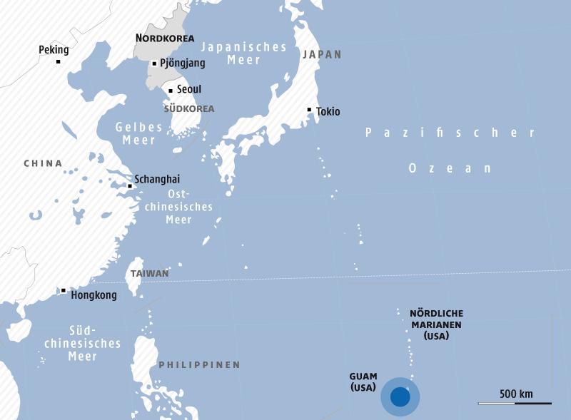 Eine Grafik zeigt die Lage von Nordkorea und Guam