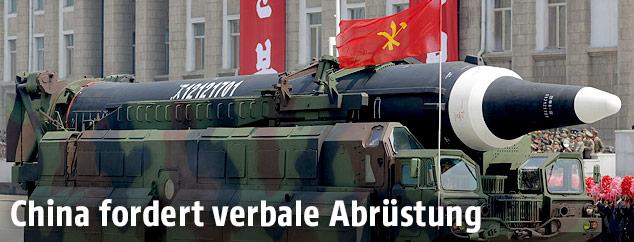 Nordkoreanische Rakete bei einer Militärparade in Pjöngjang