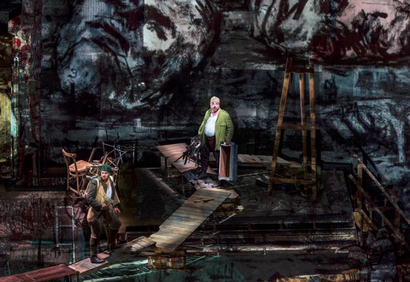 Matthias Goerne im Bühnenbild von William Kentrdige