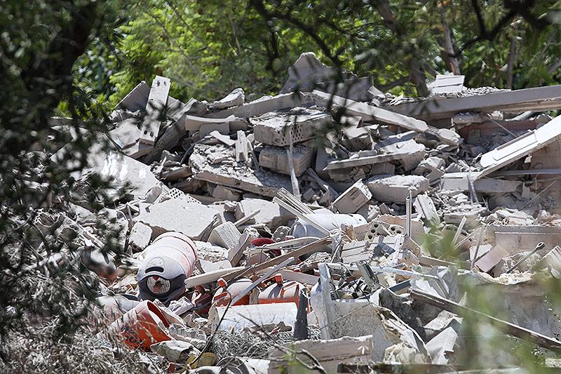 Trümmer eines durch eine Explosion zerstörten Hauses in Alcanar