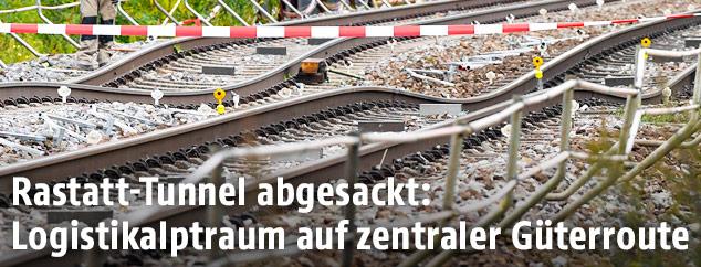 Beschädigte Gleise der Deutschen Bahn