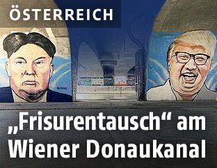 Graffiti von Donald Trump und Kim Jong-un am Donaukanal in Wien