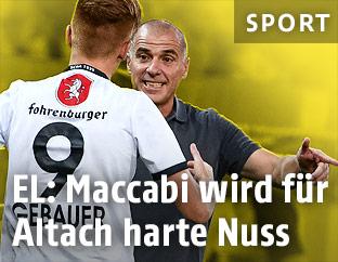 Altach-Coach Klaus Schmidt und Christian Gebauer