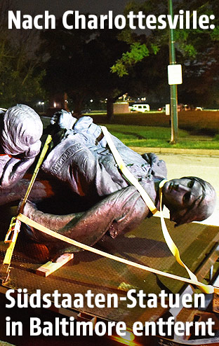 Arbeiter entfernen Südstaaten-Denkmal