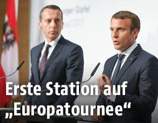 Bundeskanzler Christian Kern und der französische Präsident Emmanuel Macron