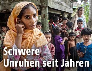 Muslimische Familie in Myanmar