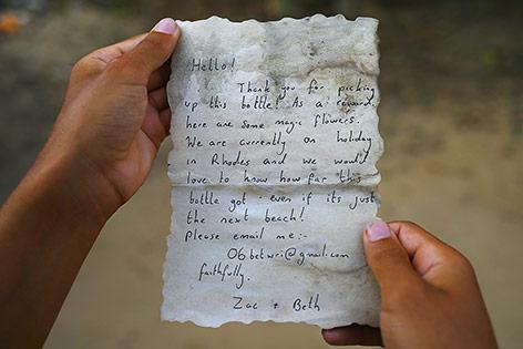 Brief in der Flaschenpost