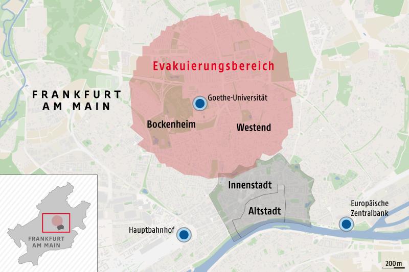 frankfurt evakuierung karte Bombenfund in Frankfurt: Erneute Evakuierung im Europaviertel