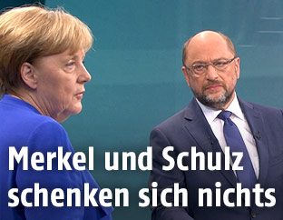 Martin Schulz und Angela Merkel im Studio
