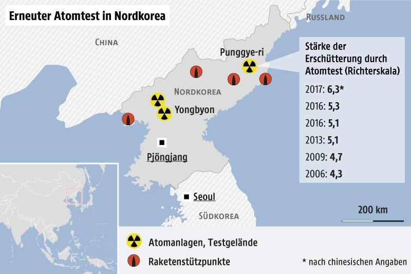 Grafik zeigt Karte von Nordkorea
