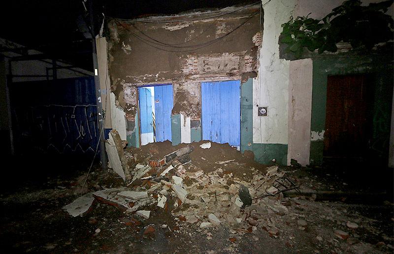 Zerstörte Gebäude in Oaxaca