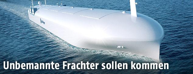 Rendering eines autonomen Schiffs von Rolls-Royce