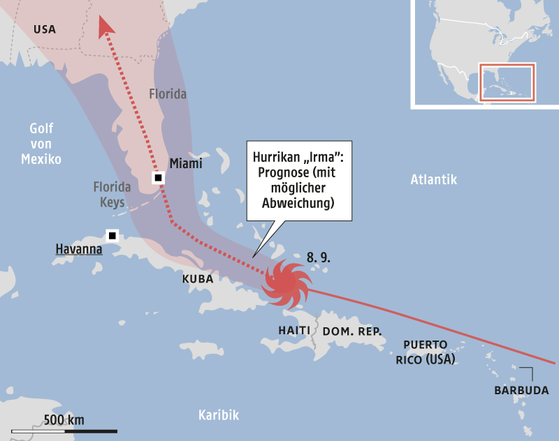 Karte vom Hurrikan Irma in der Karibik